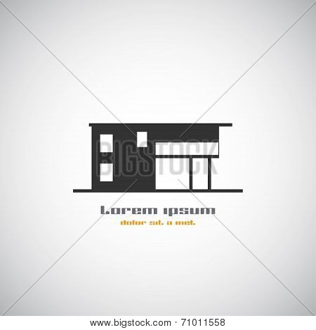Abstract Architecture Building Silhouette Vector Logo Design Template. Skyscraper Real Estate Busine