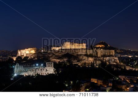 The Acropolis Of Athens By Night