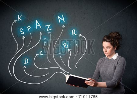Young woman reading a book while multiple choices are coming out of the book