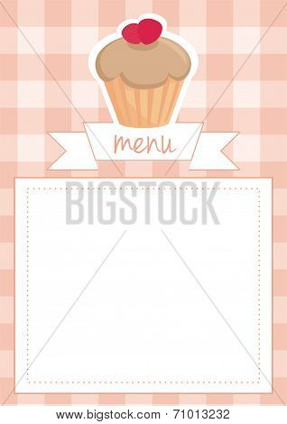 Vector sweet toffee and strawberries cupcake on peach pink checkered pattern grid texture background