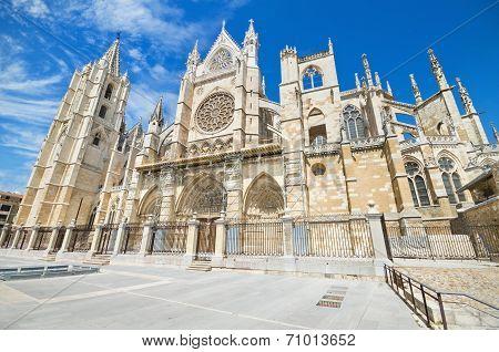 Famous landmark Leon Cathedral Castilla y Leon Spain.