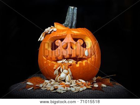 Puking Scary Halloween pumpkin (jack-o-lantern)