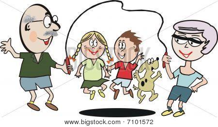 Family exercise cartoon