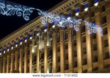 Kreschatik Boulevard in Kiev Christmas lights at night