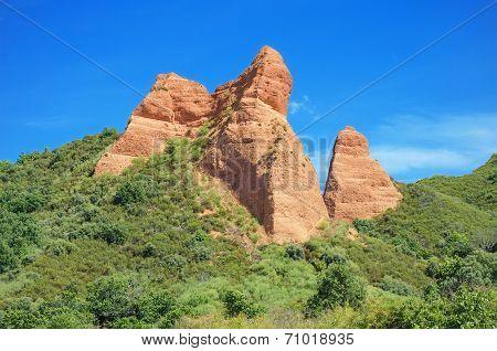 Red Peaks in Las Medulas ancient roman mines in Leon Spain.