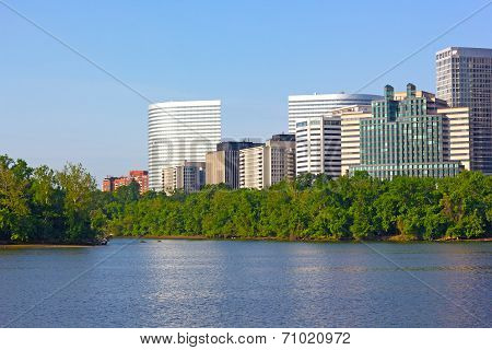 City skyscrapers on Virginia side of Potomac River.