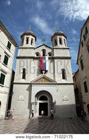 KOTOR, MONTENEGRO - JUNE 10, 2012: St. Nicholas church on St. Luke square in Kotor old town, on June 10, 2012 in Kotor, Montenegro