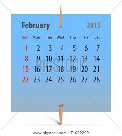 Calendar 2014 February Notepaper