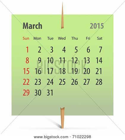Calendar For March 2014