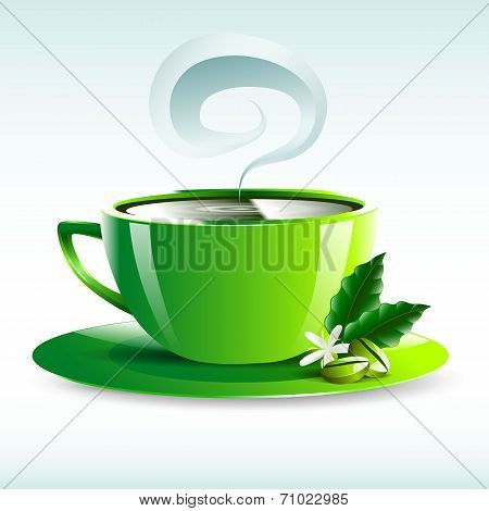 Vector Illustration Of A Green Cup Of Hot Coffee Grain Pairs