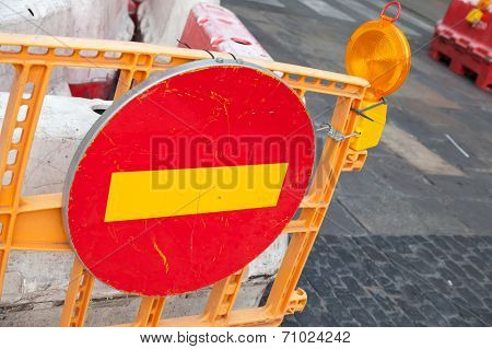 Round Red Sign No Entry Mounted On The Road Barrier