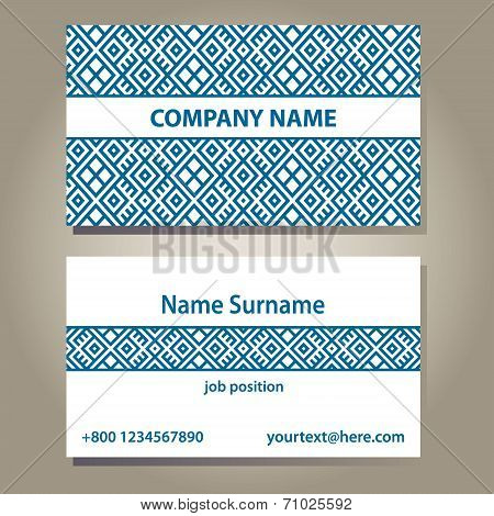 Business card template in blue and white colors