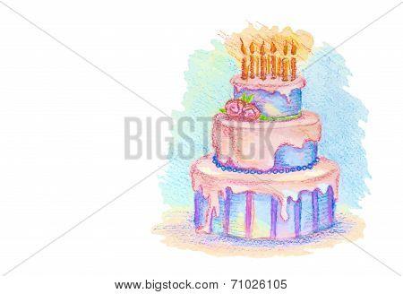 White card with hand drawn birthday cake
