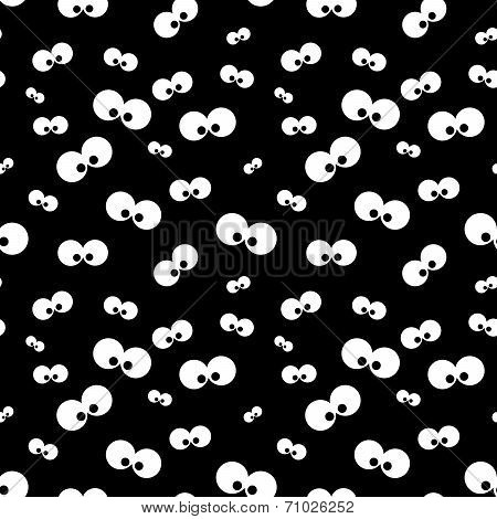 Halloween  Pattern With Eyes Over Black Background