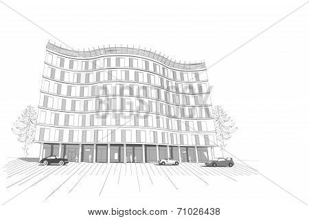 Linear multistory apartment or office building