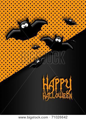 Halloween Greetings Card With Moon And Bats