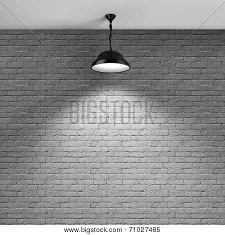 Brick wall background and ceiling lamp