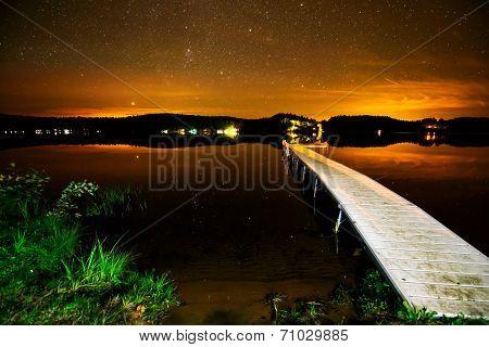 Lake Under A Starry Night Sunset