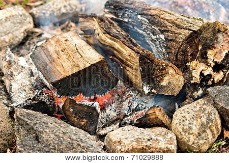 Burning Wood In A Fire Pit
