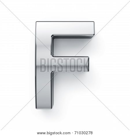 3D Render Of Metalic Alphabet Letter Simbol - F