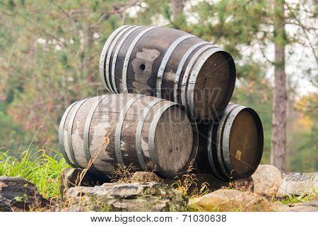 Three Stacked Wine Barrels