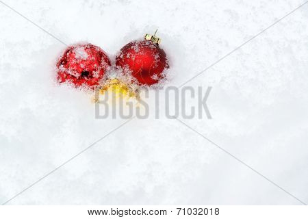 Snow Covered Christmas Ball Decorations