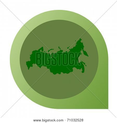 Isolated Russian Federation map marker pin flat web design style.