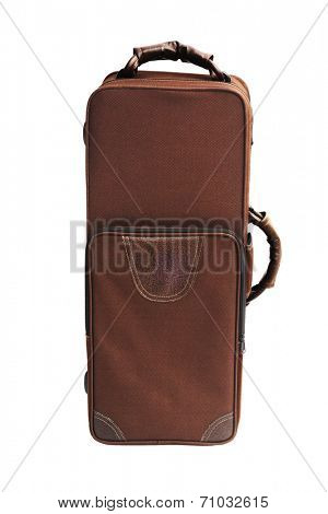 Carry Case For Brass Musical Instrument Standing On White Background