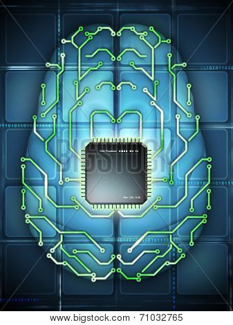 Microprocessor and printed circuit board as elements of an electronic brain. Digital illustration.