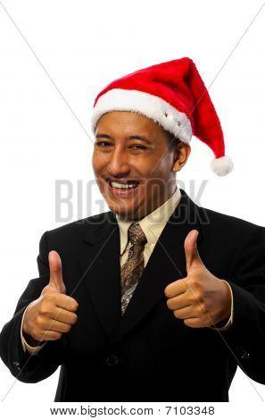 Businessman Wearing Santa Hat