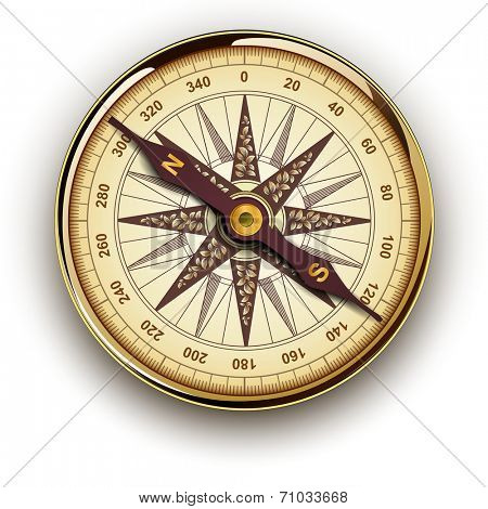 Compass, retro vector design.