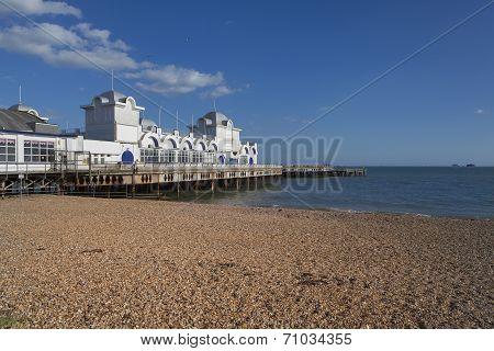 Southsea Pier and the Solent, near Portsmouth, Hampshire, England.