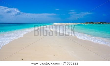 Beach in Caribbean with a sandbank