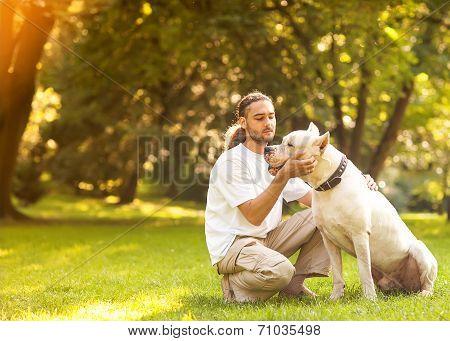 Man and Argentino Dog