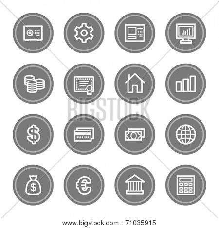 Money web icons, grey circle buttons