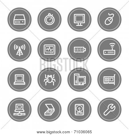 Computer components web icon set 2, grey circle buttons