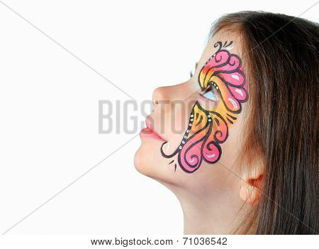 Pretty girl with face painting isolated on white