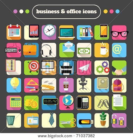 Business Stationery Supplies Icons Set