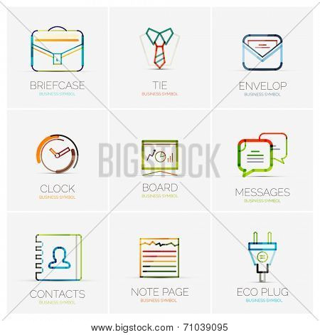 Vector collection of various 9 company logos, business concepts. Briefcase tie shirt envelop clock time board whiteboard messages contacts note page eco plug