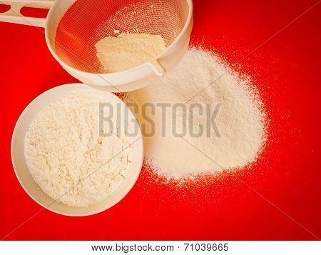 Preparation For Baking, Ingredients Flour Sifting.