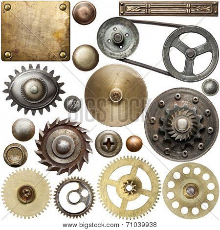 Screw heads, gears, textures and other metal details.