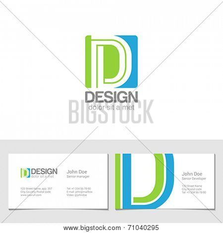 Corporate Logo D Letter company vector design template. Logotype with identity business visit card.