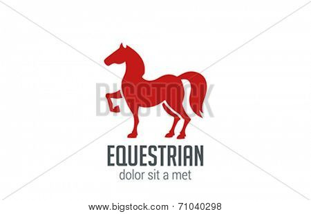 Horse Equestrian Logo vector design template. Home Farm Animal sport icon. Stallion silhouette.