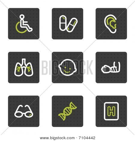 Medicine web icons set 2, grey square buttons series