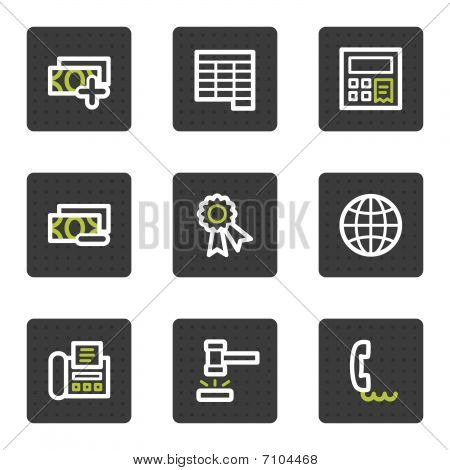 Finance web icons set 2, grey square buttons series