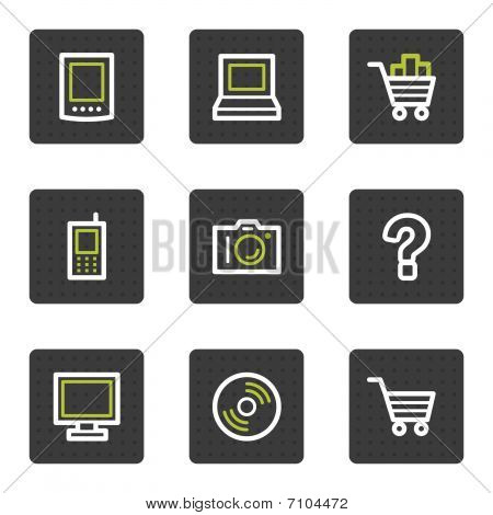 Electronics web icons set 1, grey square buttons series