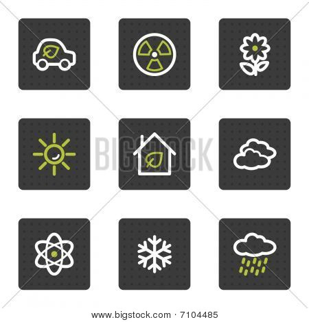 Eco web icons set 2, grey square buttons series