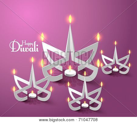 Vector Paper Sculpture of Diwali Diya (Oil Lamp).