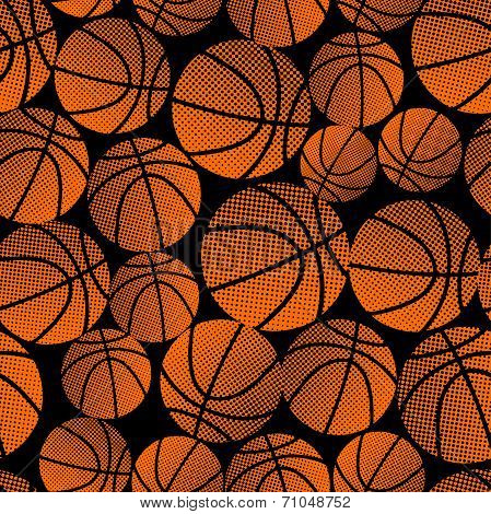 Basketball Halftone Gradient Seamless Pattern