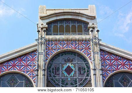 A top part of entrance exterior of the Central Market (Mercado Central) in Valencia Spain.